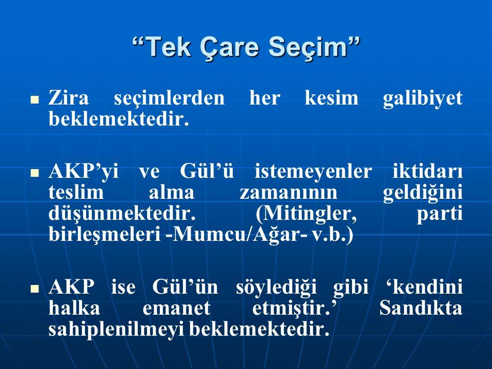 """""""Tek Çare Seçim"""" Zira seçimlerden her kesim galibiyet beklemektedir. AKP'yi ve Gül'ü istemeyenler iktidarı teslim alma zamanının geldiğini düşünmekted"""