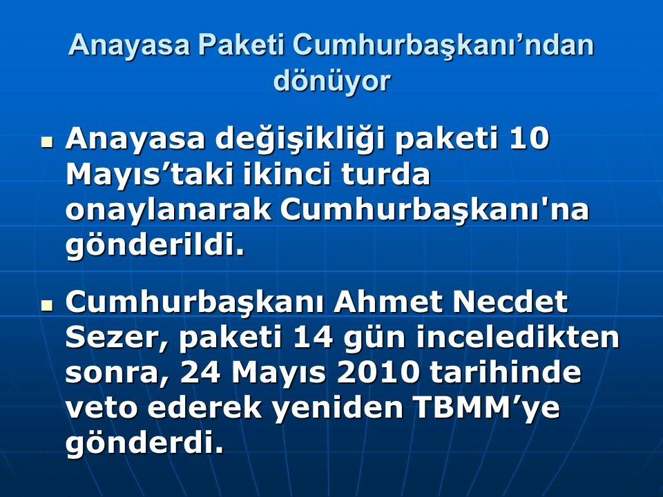 Anayasa Paketi Cumhurbaşkanı'ndan dönüyor Anayasa değişikliği paketi 10 Mayıs'taki ikinci turda onaylanarak Cumhurbaşkanı'na gönderildi. Anayasa değiş