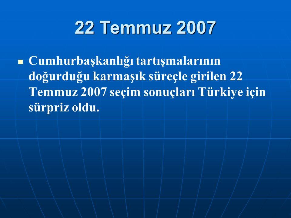 22 Temmuz 2007 Cumhurbaşkanlığı tartışmalarının doğurduğu karmaşık süreçle girilen 22 Temmuz 2007 seçim sonuçları Türkiye için sürpriz oldu.