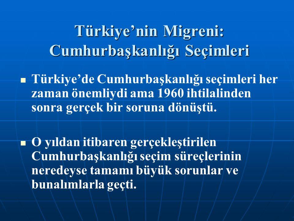Türkiye'nin Migreni: Cumhurbaşkanlığı Seçimleri Türkiye'de Cumhurbaşkanlığı seçimleri her zaman önemliydi ama 1960 ihtilalinden sonra gerçek bir soruna dönüştü.