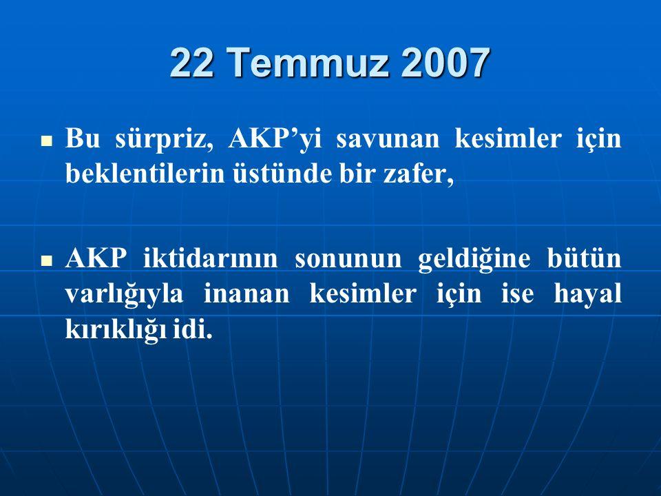 22 Temmuz 2007 Bu sürpriz, AKP'yi savunan kesimler için beklentilerin üstünde bir zafer, AKP iktidarının sonunun geldiğine bütün varlığıyla inanan kesimler için ise hayal kırıklığı idi.