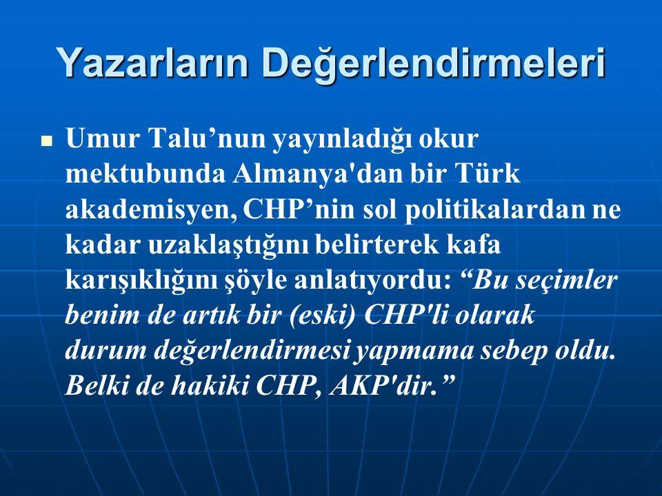Yazarların Değerlendirmeleri Umur Talu'nun yayınladığı okur mektubunda Almanya dan bir Türk akademisyen, CHP'nin sol politikalardan ne kadar uzaklaştığını belirterek kafa karışıklığını şöyle anlatıyordu: Bu seçimler benim de artık bir (eski) CHP li olarak durum değerlendirmesi yapmama sebep oldu.