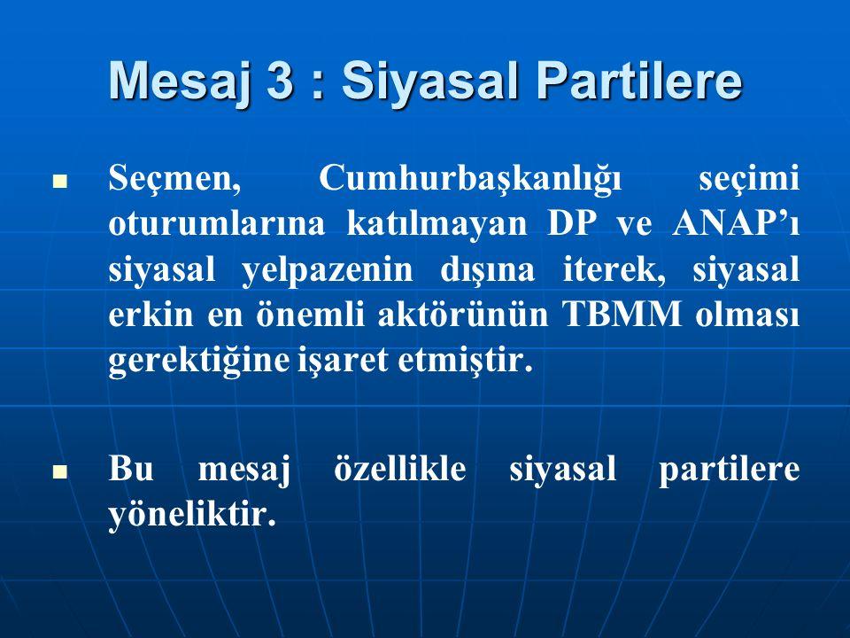 Mesaj 3 : Siyasal Partilere Seçmen, Cumhurbaşkanlığı seçimi oturumlarına katılmayan DP ve ANAP'ı siyasal yelpazenin dışına iterek, siyasal erkin en önemli aktörünün TBMM olması gerektiğine işaret etmiştir.