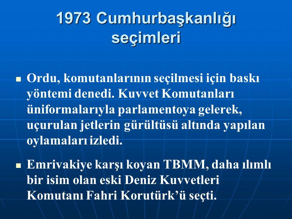 1973 Cumhurbaşkanlığı seçimleri Ordu, komutanlarının seçilmesi için baskı yöntemi denedi. Kuvvet Komutanları üniformalarıyla parlamentoya gelerek, uçu