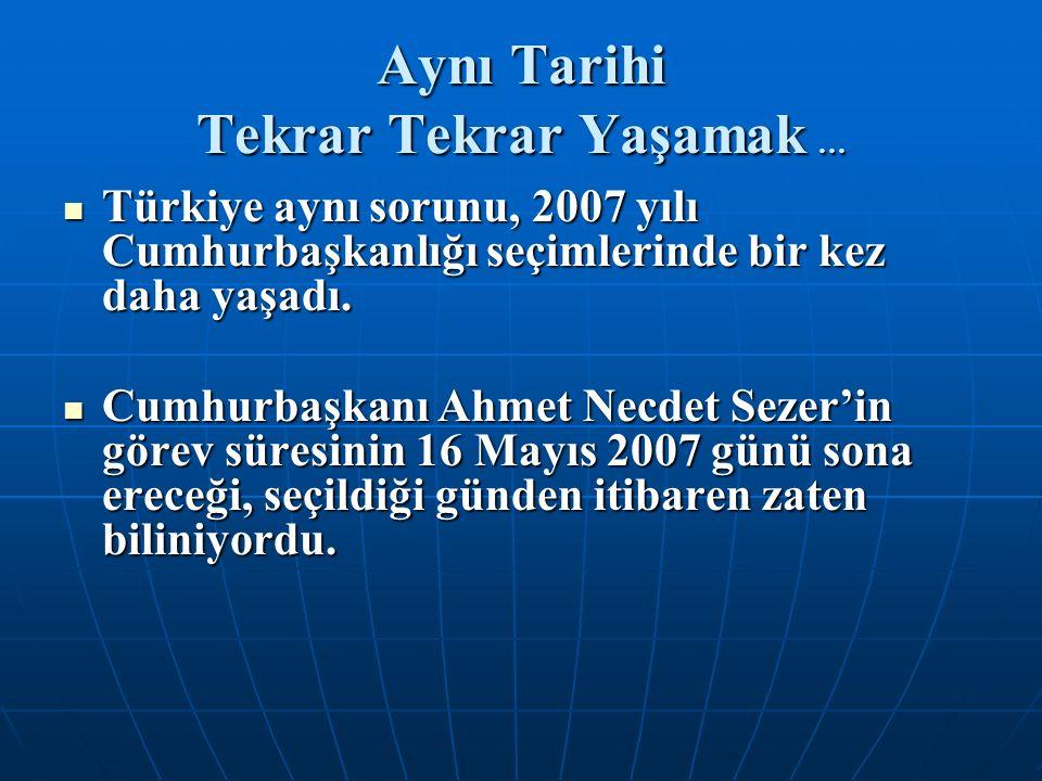 Aynı Tarihi Tekrar Tekrar Yaşamak … Türkiye aynı sorunu, 2007 yılı Cumhurbaşkanlığı seçimlerinde bir kez daha yaşadı. Türkiye aynı sorunu, 2007 yılı C
