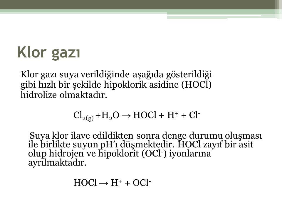 Klor gazı Klor gazı suya verildiğinde aşağıda gösterildiği gibi hızlı bir şekilde hipoklorik asidine (HOCl) hidrolize olmaktadır.