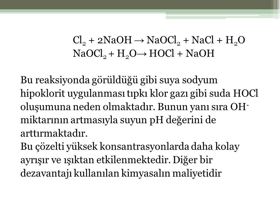 Cl 2 + 2NaOH → NaOCl 2 + NaCl + H 2 O NaOCl 2 + H 2 O → HOCl + NaOH Bu reaksiyonda görüldüğü gibi suya sodyum hipoklorit uygulanması tıpkı klor gazı gibi suda HOCl oluşumuna neden olmaktadır.