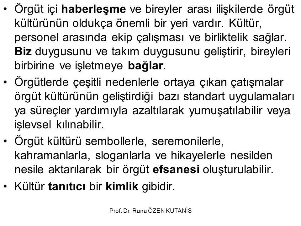 Prof.Dr. Rana ÖZEN KUTANİS ÖRGÜT KÜLTÜRÜ MODELLERİ A.
