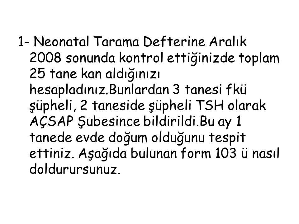 1- Neonatal Tarama Defterine Aralık 2008 sonunda kontrol ettiğinizde toplam 25 tane kan aldığınızı hesapladınız.Bunlardan 3 tanesi fkü şüpheli, 2 tane