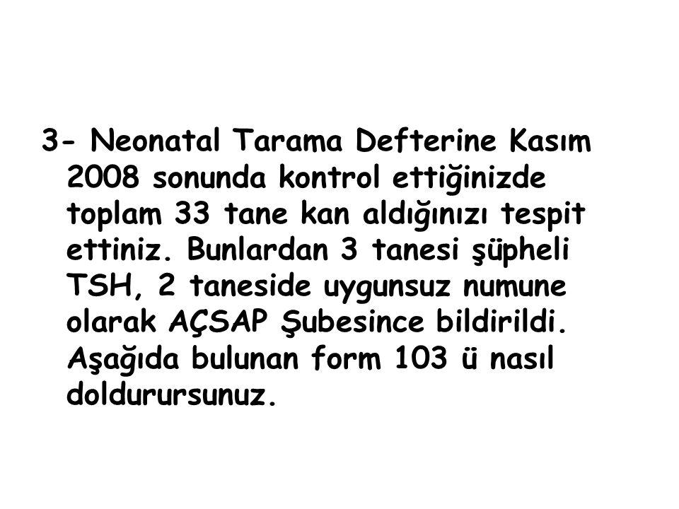3- Neonatal Tarama Defterine Kasım 2008 sonunda kontrol ettiğinizde toplam 33 tane kan aldığınızı tespit ettiniz. Bunlardan 3 tanesi şüpheli TSH, 2 ta