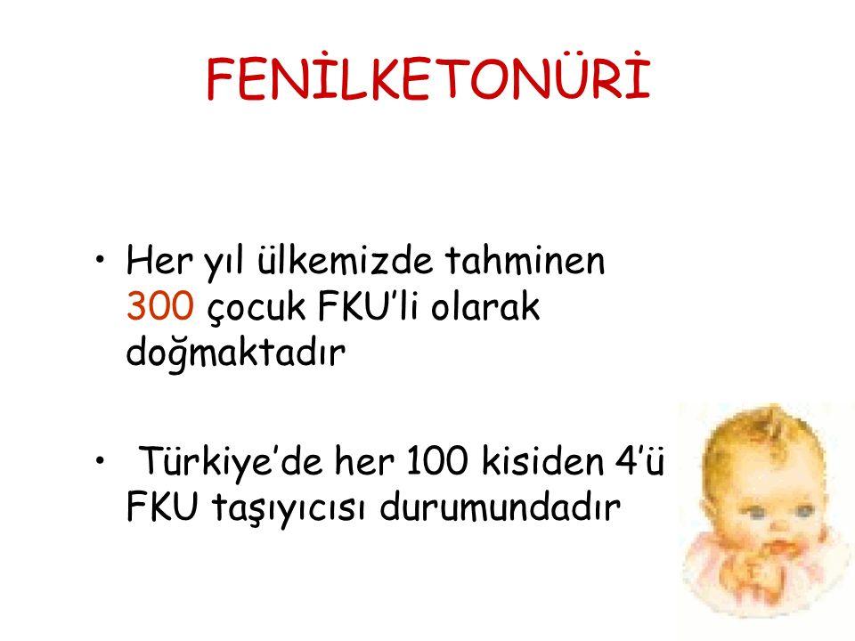 FENİLKETONÜRİ Her yıl ülkemizde tahminen 300 çocuk FKU'li olarak doğmaktadır Türkiye'de her 100 kisiden 4'ü FKU taşıyıcısı durumundadır