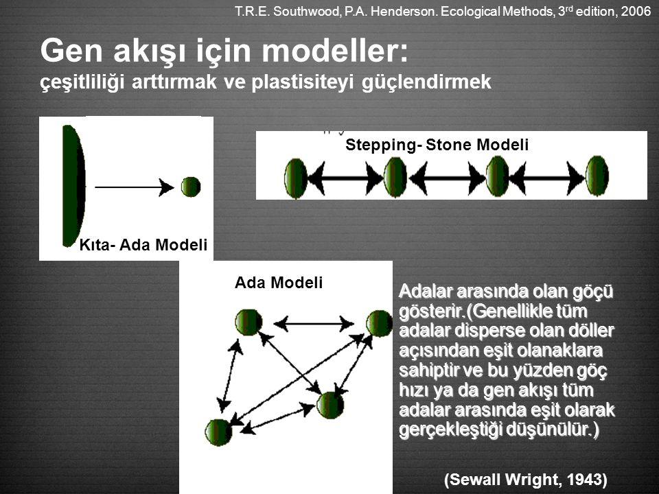 Gen akışı için modeller: çeşitliliği arttırmak ve plastisiteyi güçlendirmek Kıta- Ada Modeli Stepping- Stone Modeli Ada Modeli (Sewall Wright, 1943) Adalar arasında olan göçü gösterir.(Genellikle tüm adalar disperse olan döller açısından eşit olanaklara sahiptir ve bu yüzden göç hızı ya da gen akışı tüm adalar arasında eşit olarak gerçekleştiği düşünülür.) T.R.E.