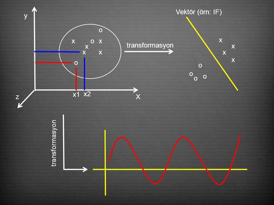 X y z x x x x o o x o x1 x2 transformasyon o o o o x x x x Vektör (örn: IF) transformasyon