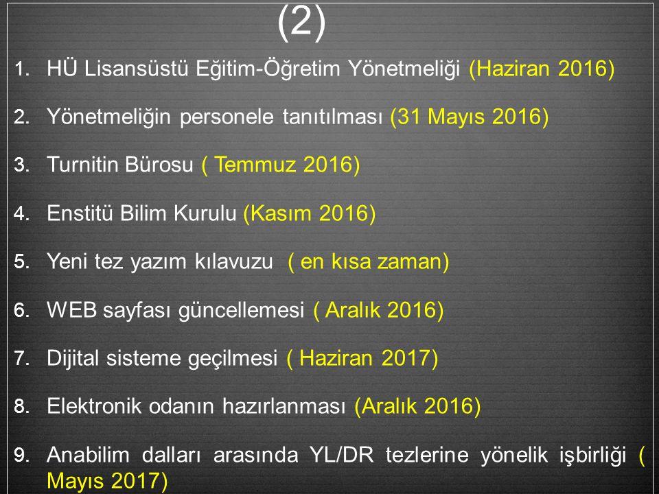 1. HÜ Lisansüstü Eğitim-Öğretim Yönetmeliği (Haziran 2016) 2.