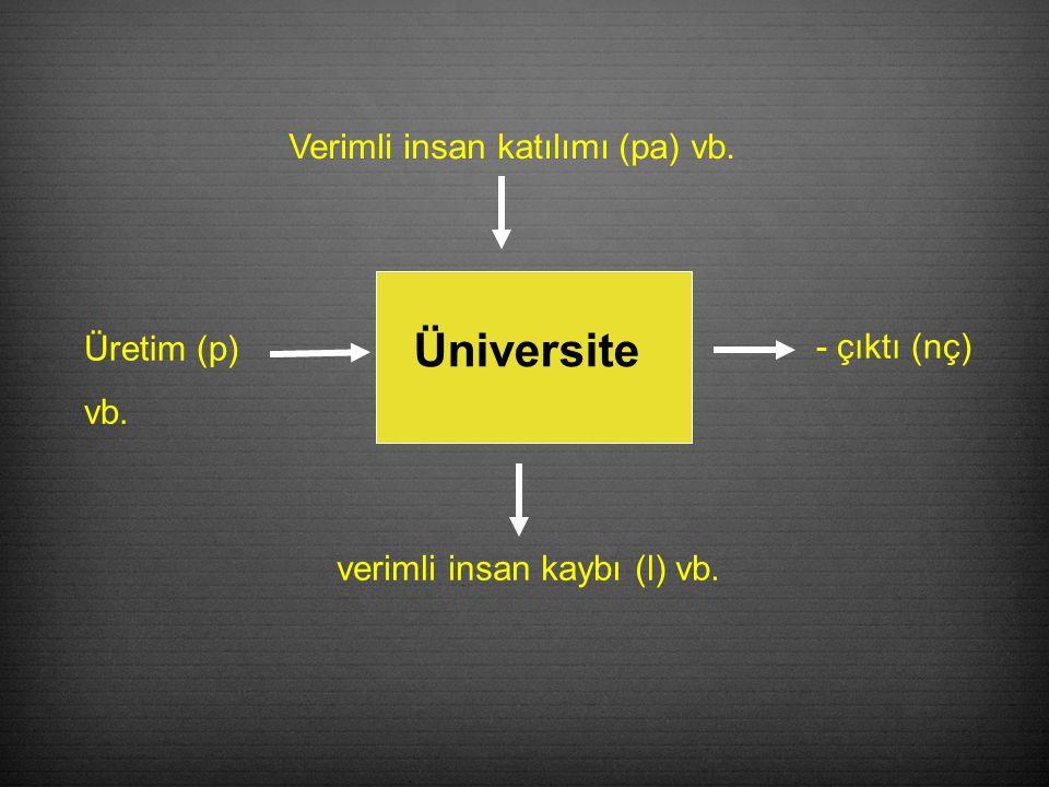 Üniversite verimli insan kaybı (l) vb. Verimli insan katılımı (pa) vb. Üretim (p) vb. - çıktı (nç)
