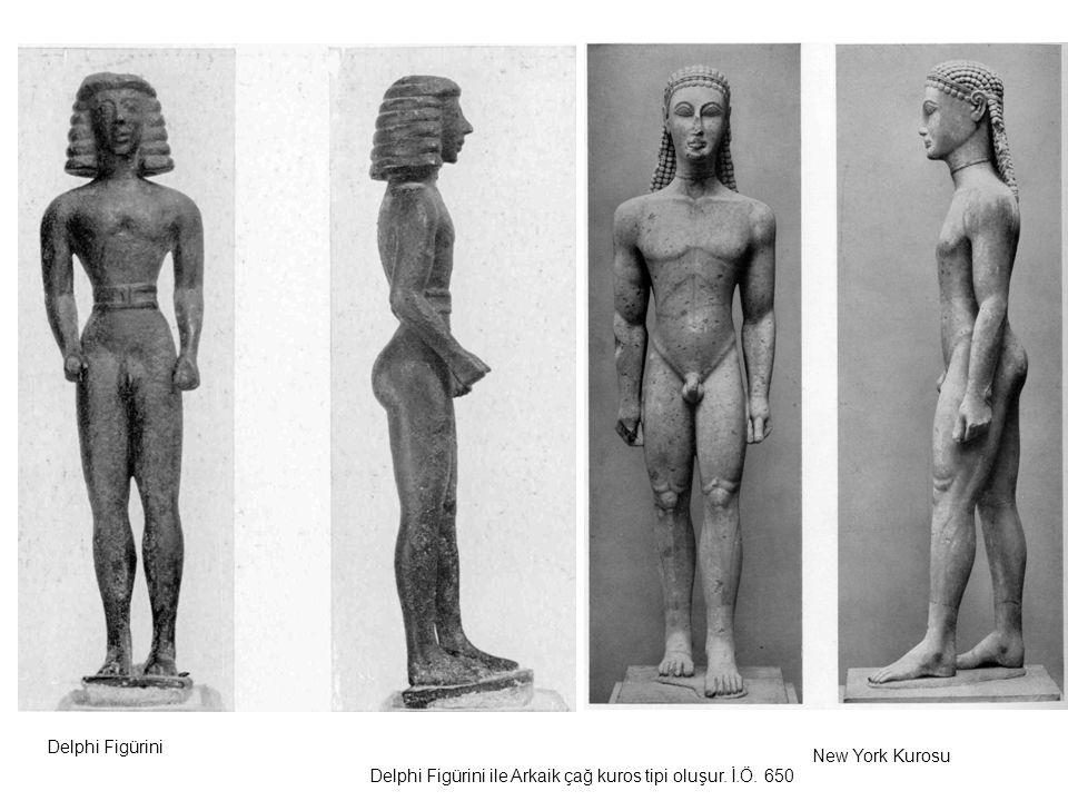 Delphi Figürini ile Arkaik çağ kuros tipi oluşur. İ.Ö. 650 Delphi Figürini New York Kurosu