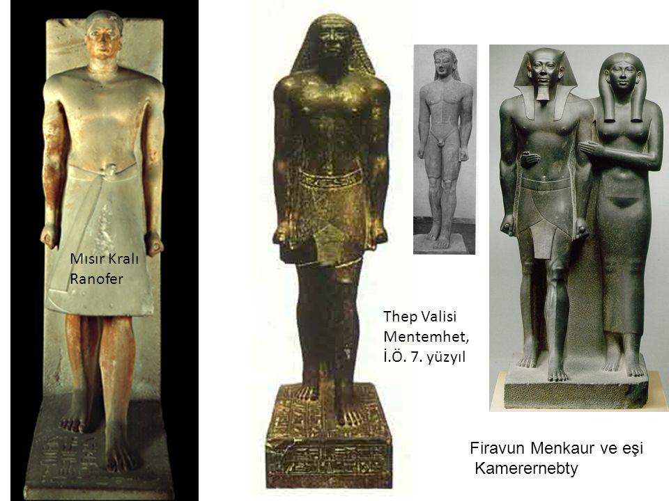 Mısır Kralı Ranofer Thep Valisi Mentemhet, İ.Ö. 7. yüzyıl Firavun Menkaur ve eşi Kamerernebty