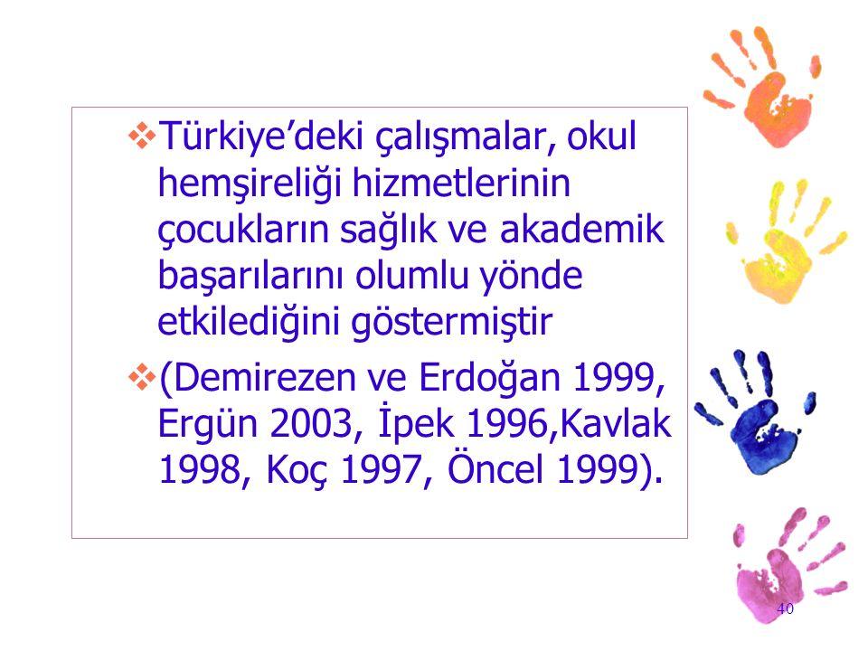 40  Türkiye'deki çalışmalar, okul hemşireliği hizmetlerinin çocukların sağlık ve akademik başarılarını olumlu yönde etkilediğini göstermiştir  (Demi