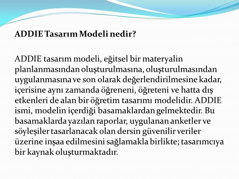 ADDIE Tasarım Modeli nedir? ADDIE tasarım modeli, eğitsel bir materyalin planlanmasından oluşturulmasına, oluşturulmasından uygulanmasına ve son olara