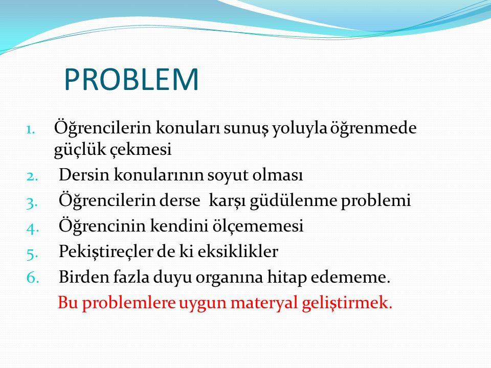 PROBLEM 1. Öğrencilerin konuları sunuş yoluyla öğrenmede güçlük çekmesi 2. Dersin konularının soyut olması 3. Öğrencilerin derse karşı güdülenme probl
