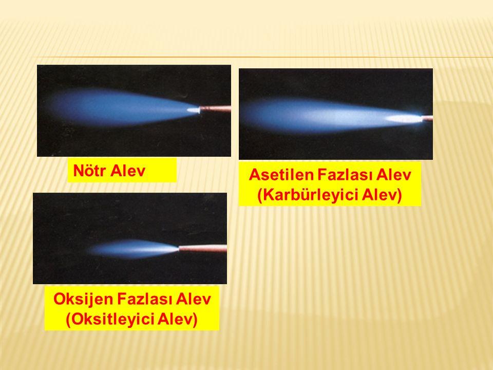 Asetilen Fazlası Alev (Karbürleyici Alev) Oksijen Fazlası Alev (Oksitleyici Alev) Nötr Alev