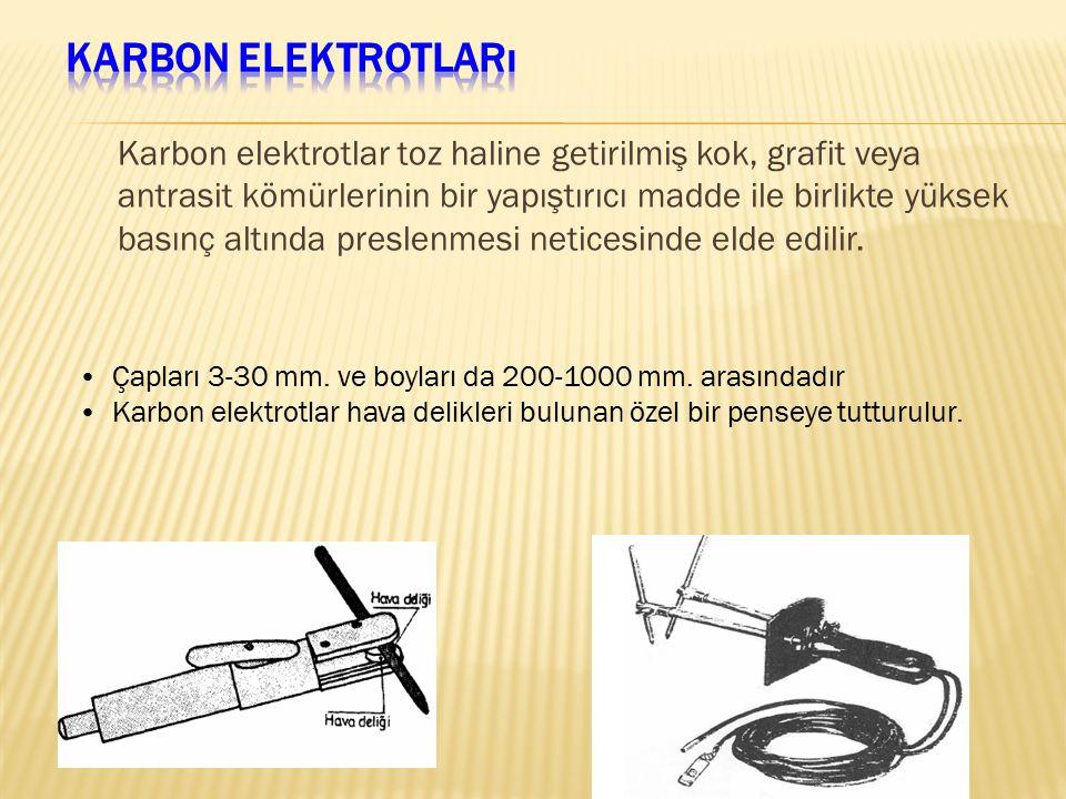 Karbon elektrotlar toz haline getirilmiş kok, grafit veya antrasit kömürlerinin bir yapıştırıcı madde ile birlikte yüksek basınç altında preslenmesi n