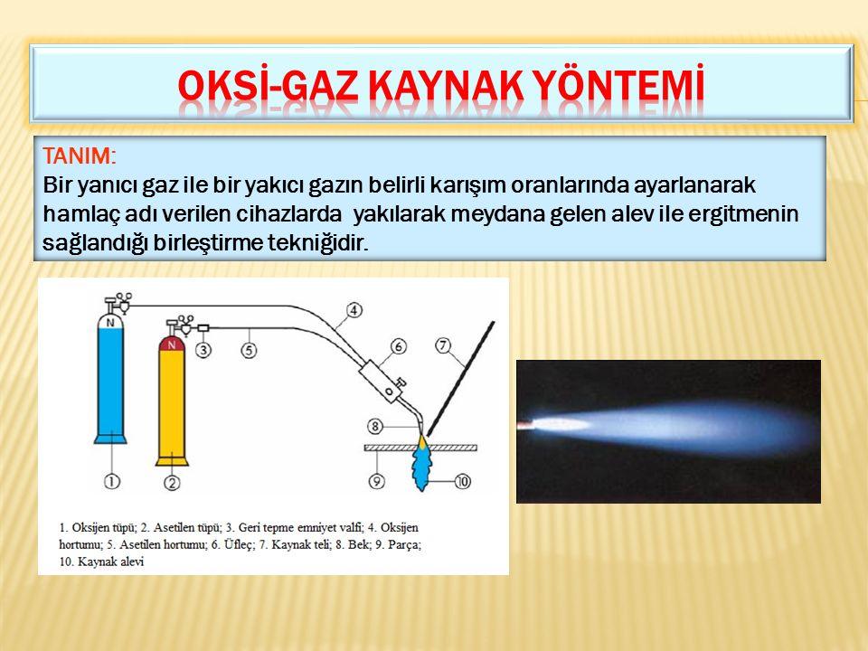 TANIM: Bir yanıcı gaz ile bir yakıcı gazın belirli karışım oranlarında ayarlanarak hamlaç adı verilen cihazlarda yakılarak meydana gelen alev ile ergi