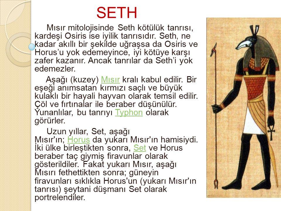 SETH Mısır mitolojisinde Seth kötülük tanrısı, kardeşi Osiris ise iyilik tanrısıdır. Seth' ne kadar akıllı bir şekilde uğraşsa da Osiris ve Horus'u yo