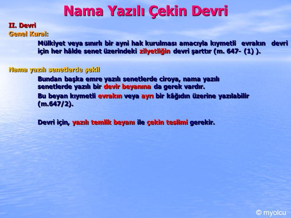 Nama Yazılı Çekin Devri II.