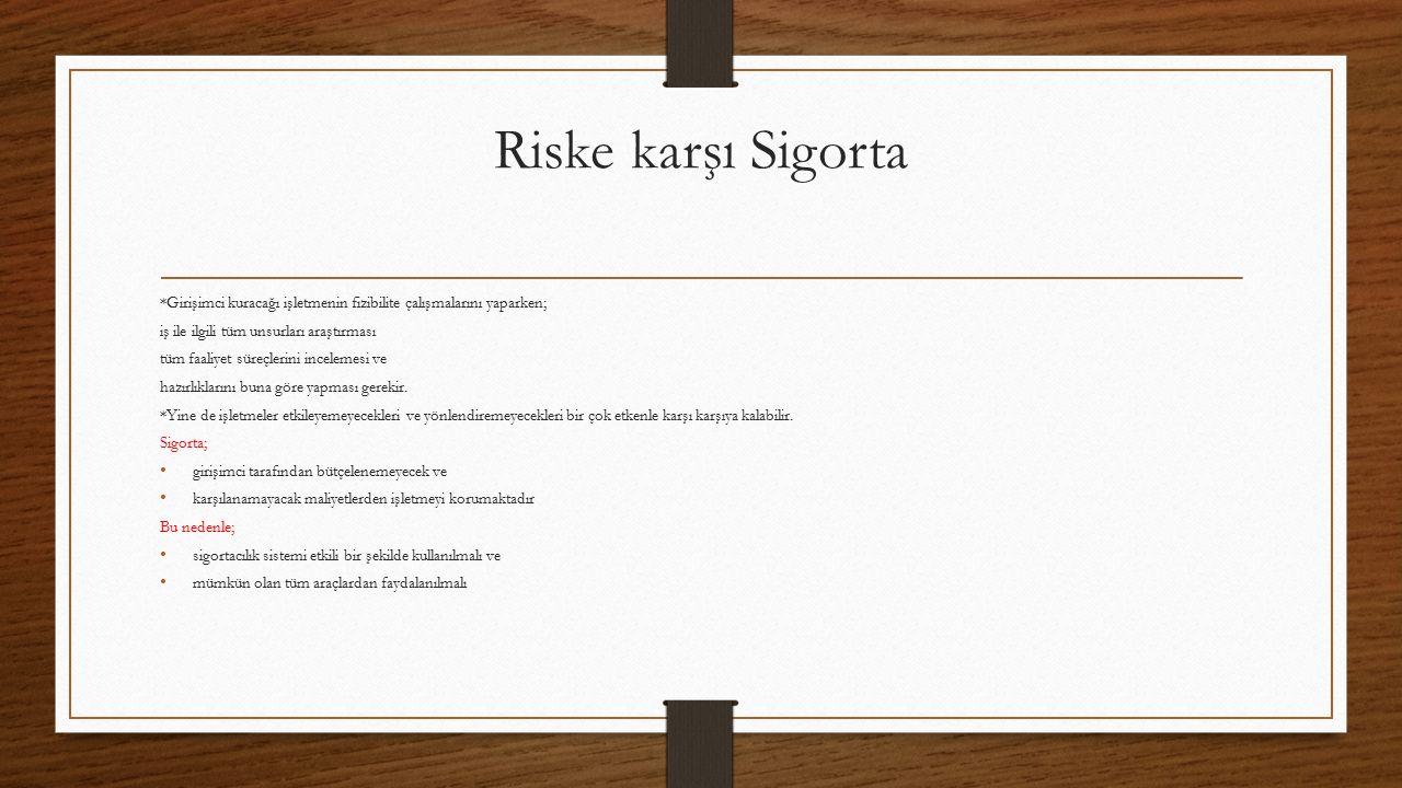 Riske karşı Sigorta *Girişimci kuracağı işletmenin fizibilite çalışmalarını yaparken; iş ile ilgili tüm unsurları araştırması tüm faaliyet süreçlerini incelemesi ve hazırlıklarını buna göre yapması gerekir.