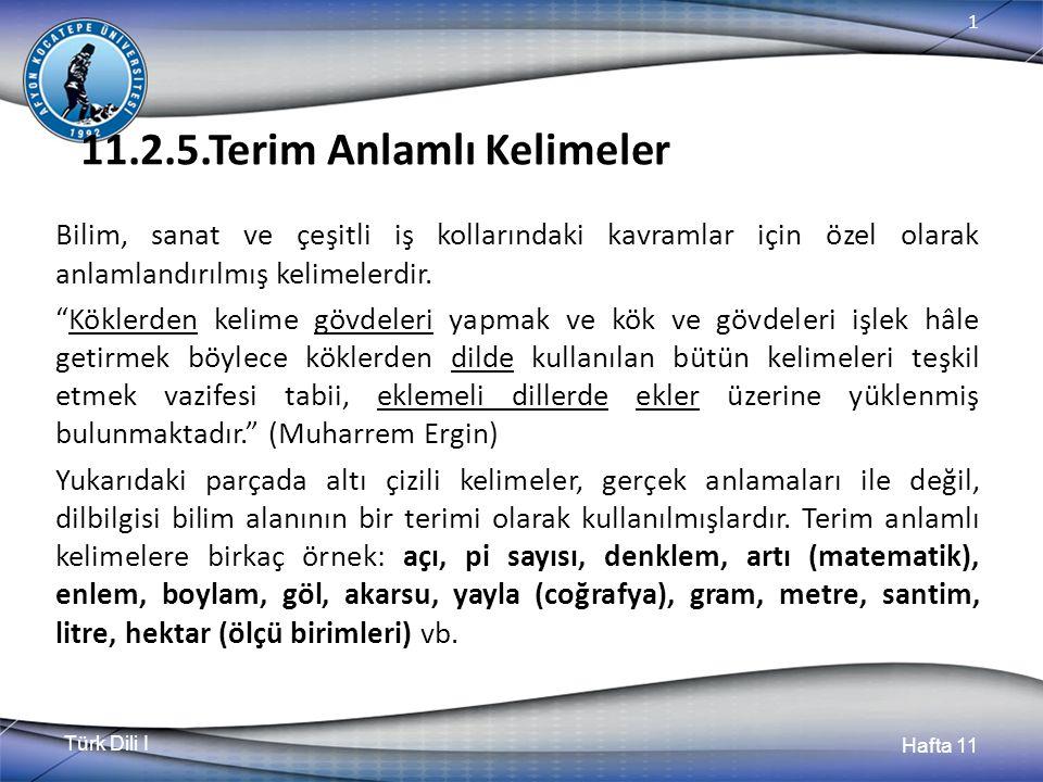 Türk Dili I Hafta 11 1 11.2.5.Terim Anlamlı Kelimeler Bilim, sanat ve çeşitli iş kollarındaki kavramlar için özel olarak anlamlandırılmış kelimelerdir.