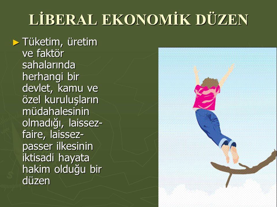 LİBERAL EKONOMİK DÜZEN ► Tüketim, üretim ve faktör sahalarında herhangi bir devlet, kamu ve özel kuruluşların müdahalesinin olmadığı, laissez- faire, laissez- passer ilkesinin iktisadi hayata hakim olduğu bir düzen