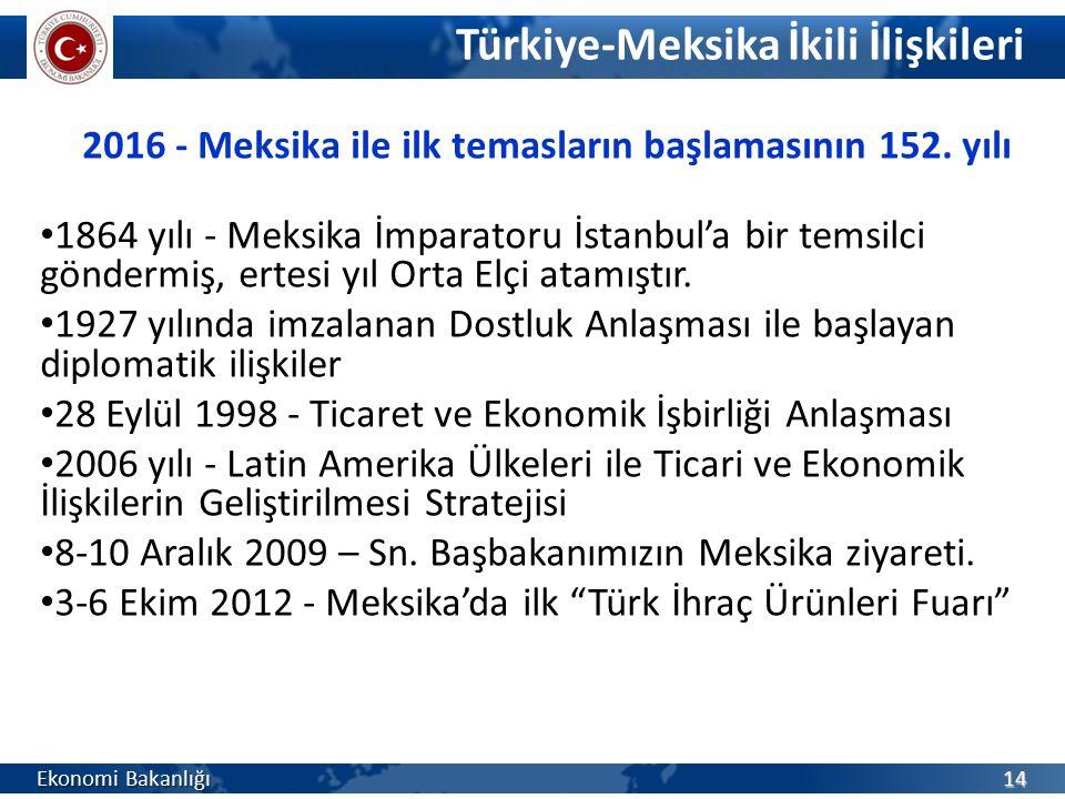 Ekonomi Bakanlığı 14 2016 - Meksika ile ilk temasların başlamasının 152. yılı 1864 yılı - Meksika İmparatoru İstanbul'a bir temsilci göndermiş, ertesi