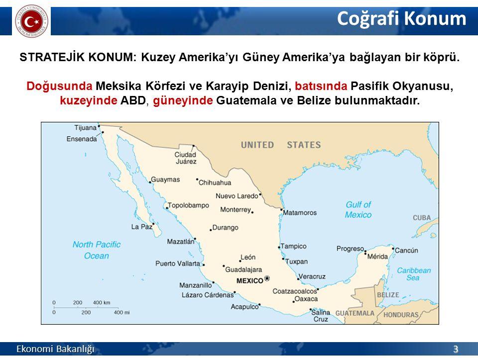 Resmi Adı Meksika Birleşik Devletleri Yönetim Şekli Federal Cumhuriyet (31 Eyalet ve Federal Bölge) Devlet BaşkanıEnrique Peña Nieto (1 Aralık 2012) Başlıca Şehirler Mexico City (20,1 milyon), Guadalajara (4,4 m), Monterrey (4,1 m), Puebla (2,7 m) Resmi Diliİspanyolca (Ayrıca 60'tan fazla yerel dil) Para BirimiMeksika Pesosu (Ps) Temel Sosyal Göstergeler Ekonomi Bakanlığı 4