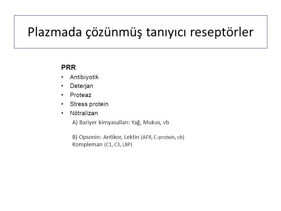 Plazmada çözünmüş tanıyıcı reseptörler PRR Antibiyotik Deterjan Proteaz Stress protein Nötralizan A) Bariyer kimyasalları: Yağ, Mukus, vb B) Opsonin: Antikor, Lektin (AFR, C-protein, vb) Kompleman (C1, C3, LBP)