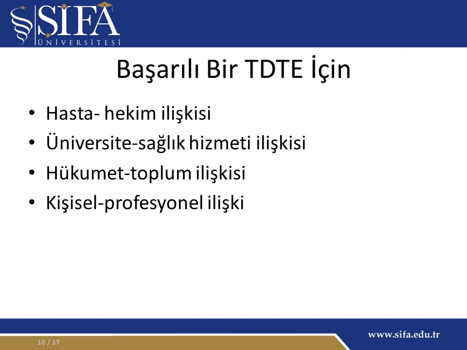 Başarılı Bir TDTE İçin Hasta- hekim ilişkisi Üniversite-sağlık hizmeti ilişkisi Hükumet-toplum ilişkisi Kişisel-profesyonel ilişki / 1710