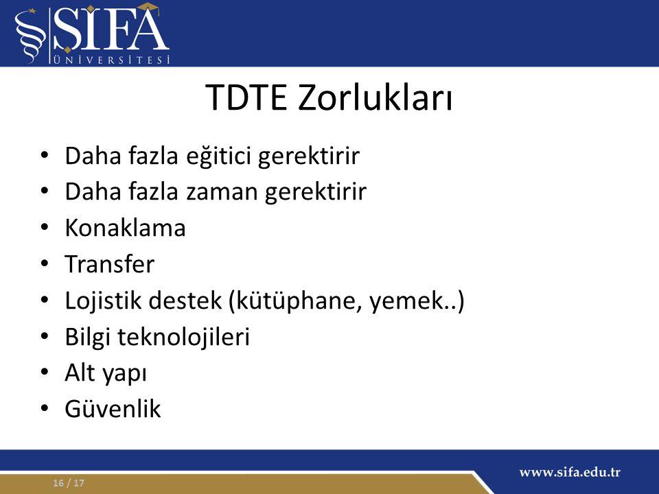 TDTE Zorlukları Daha fazla eğitici gerektirir Daha fazla zaman gerektirir Konaklama Transfer Lojistik destek (kütüphane, yemek..) Bilgi teknolojileri Alt yapı Güvenlik / 1716