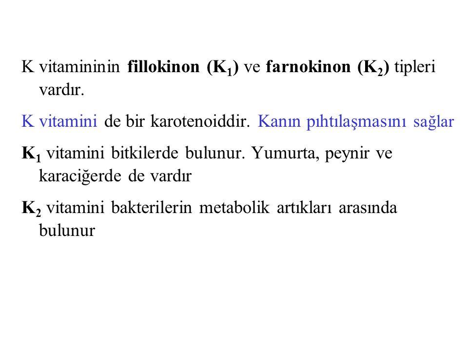 K vitamininin fillokinon (K 1 ) ve farnokinon (K 2 ) tipleri vardır. K vitamini de bir karotenoiddir. Kanın pıhtılaşmasını sağlar K 1 vitamini bitkile