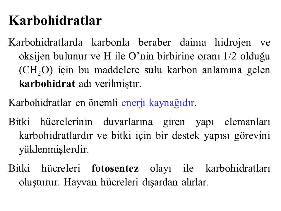 Karbohidratlar Karbohidratlarda karbonla beraber daima hidrojen ve oksijen bulunur ve H ile O'nin birbirine oranı 1/2 olduğu (CH 2 O) için bu maddeler