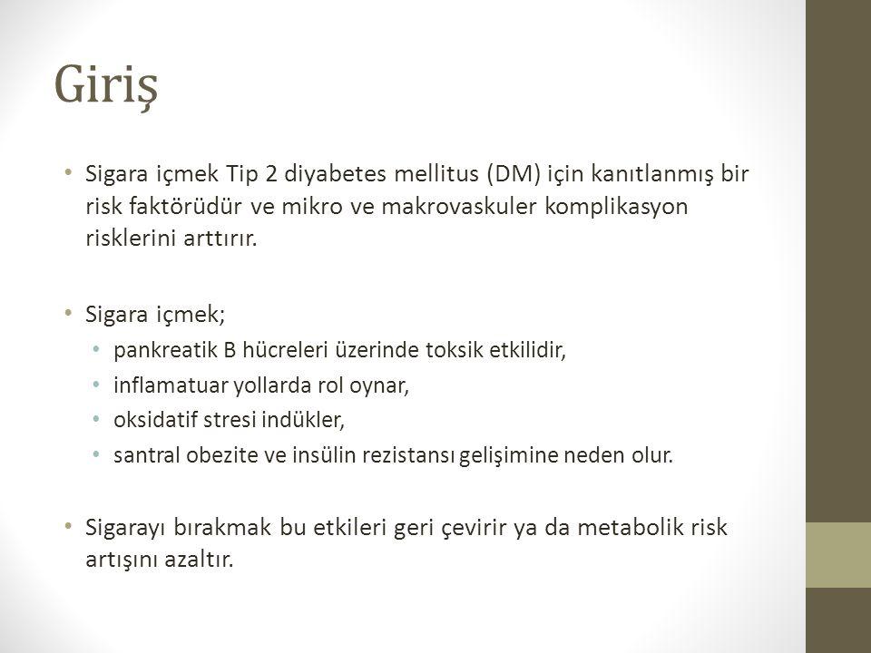 Sigara bırakma aynı zamanda birçok çalışmada Tip 2 DM ile ilişkili olan kilo alma ile ilişkilidir.