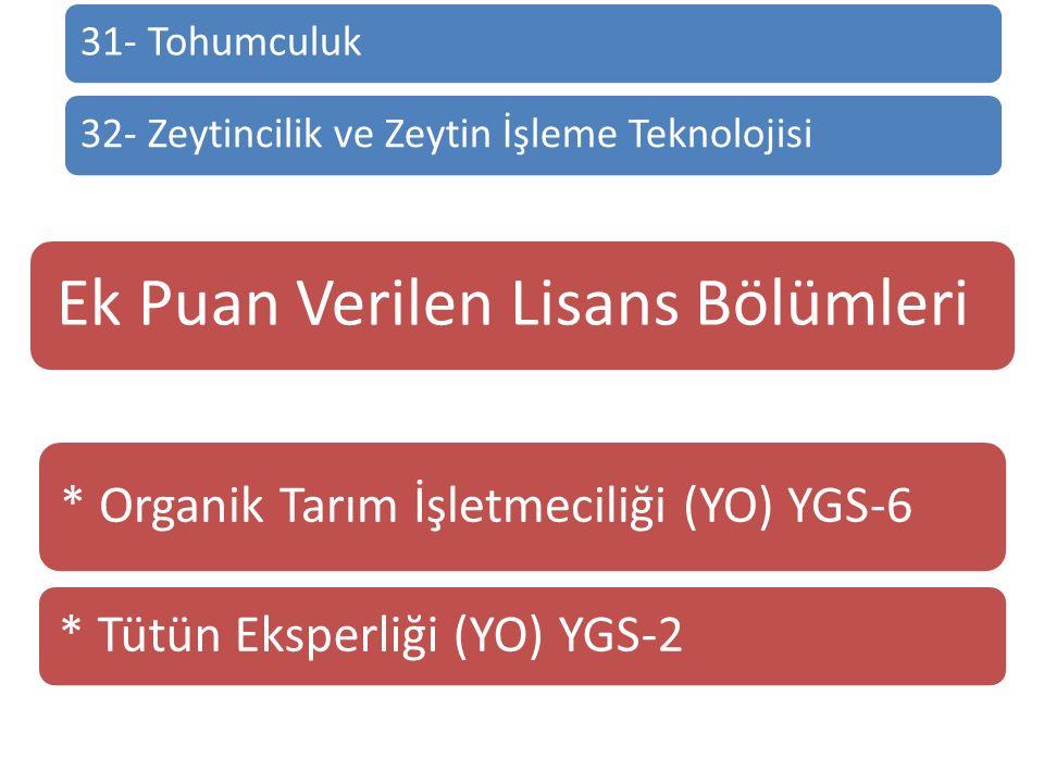31- Tohumculuk32- Zeytincilik ve Zeytin İşleme Teknolojisi Ek Puan Verilen Lisans Bölümleri * Organik Tarım İşletmeciliği (YO) YGS-6 * Tütün Eksperliği (YO) YGS-2