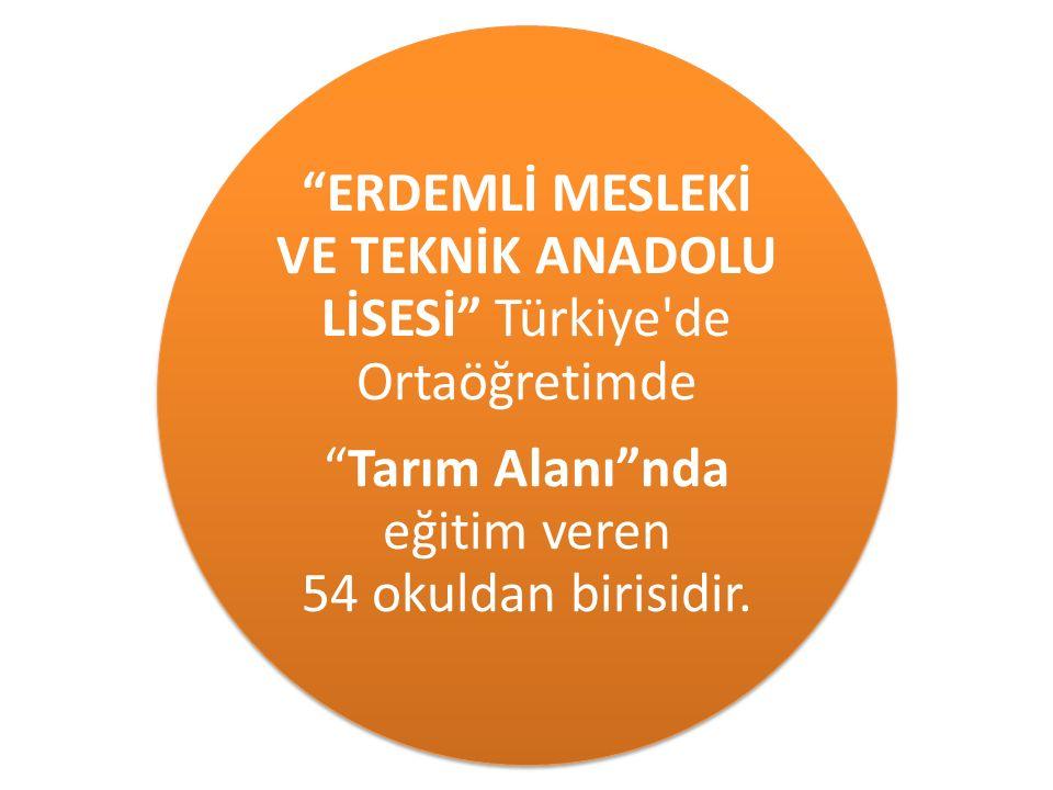 """""""ERDEMLİ MESLEKİ VE TEKNİK ANADOLU LİSESİ"""" Türkiye'de Ortaöğretimde """"Tarım Alanı""""nda eğitim veren 54 okuldan birisidir."""