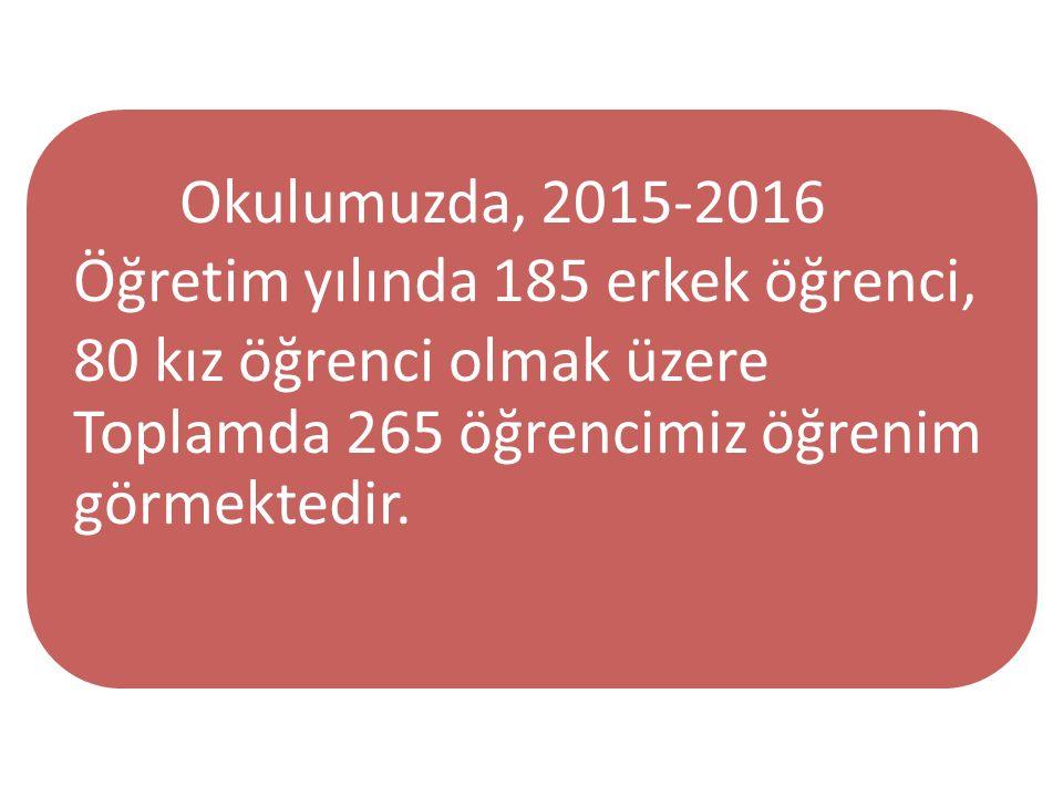 Okulumuzda, 2015-2016 Öğretim yılında 185 erkek öğrenci, 80 kız öğrenci olmak üzere Toplamda 265 öğrencimiz öğrenim görmektedir.