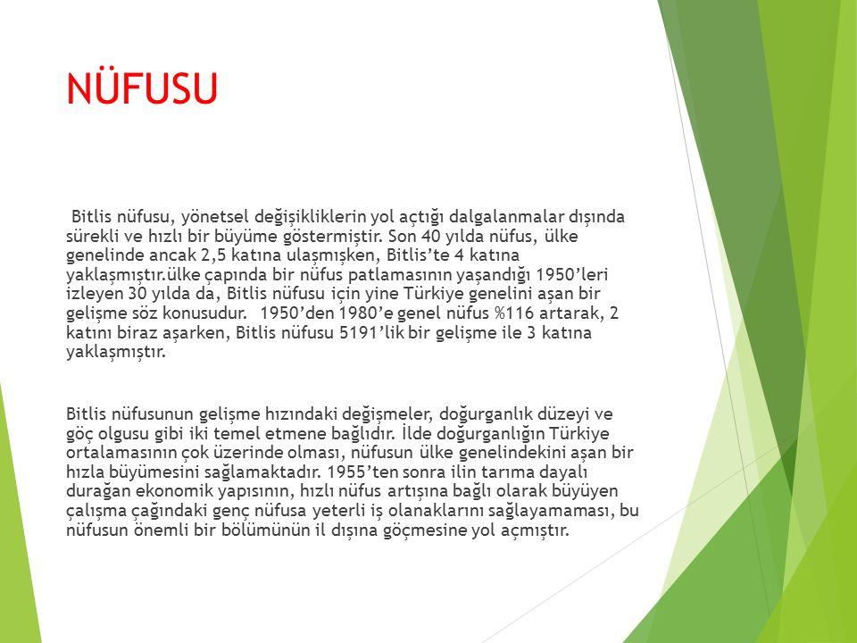 NÜFUSU Bitlis nüfusu, yönetsel değişikliklerin yol açtığı dalgalanmalar dışında sürekli ve hızlı bir büyüme göstermiştir.