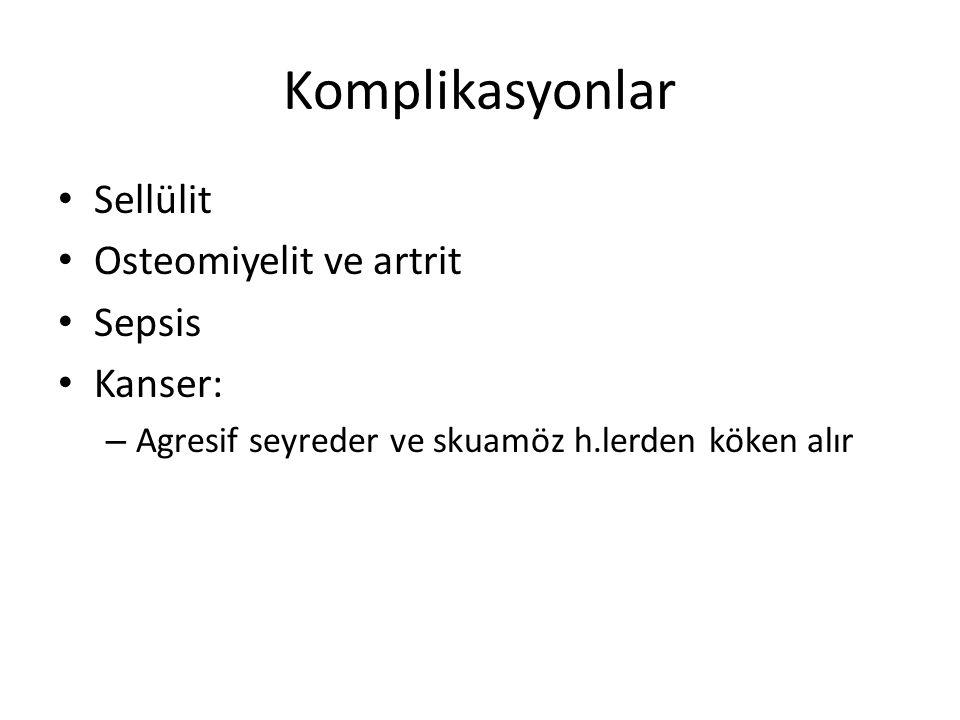 Komplikasyonlar Sellülit Osteomiyelit ve artrit Sepsis Kanser: – Agresif seyreder ve skuamöz h.lerden köken alır