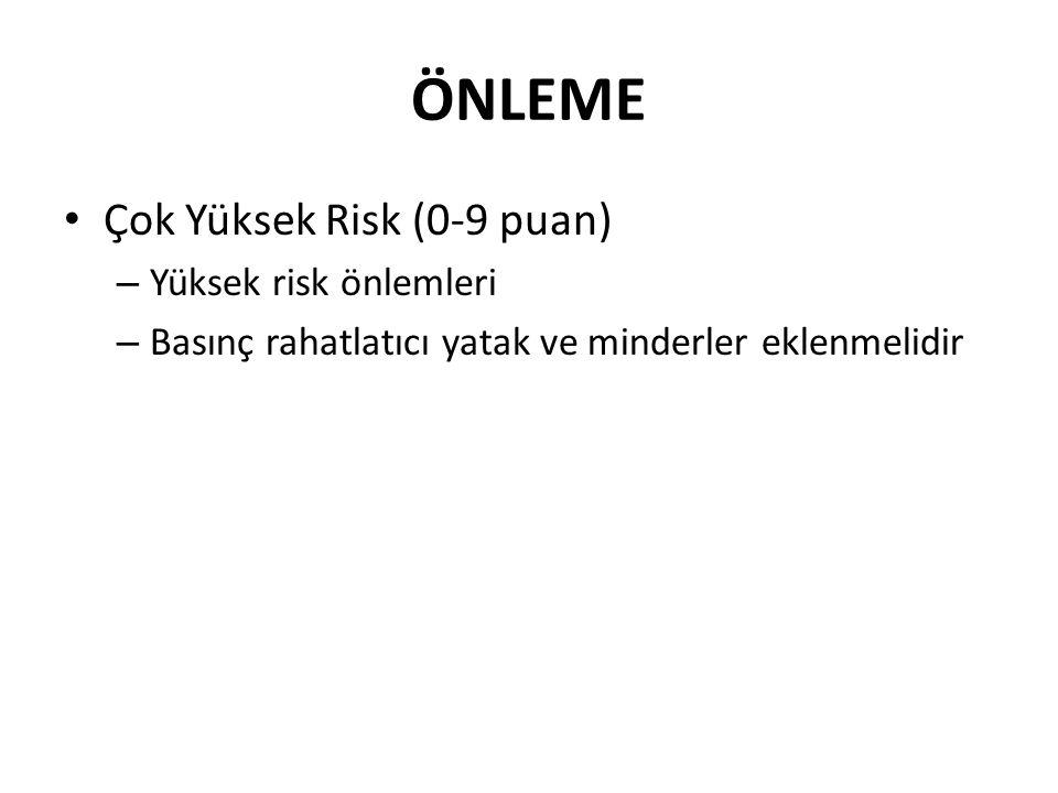 ÖNLEME Çok Yüksek Risk (0-9 puan) – Yüksek risk önlemleri – Basınç rahatlatıcı yatak ve minderler eklenmelidir