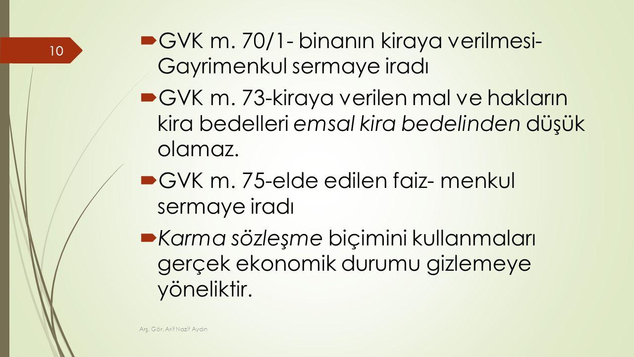  GVK m. 70/1- binanın kiraya verilmesi- Gayrimenkul sermaye iradı  GVK m. 73-kiraya verilen mal ve hakların kira bedelleri emsal kira bedelinden düş