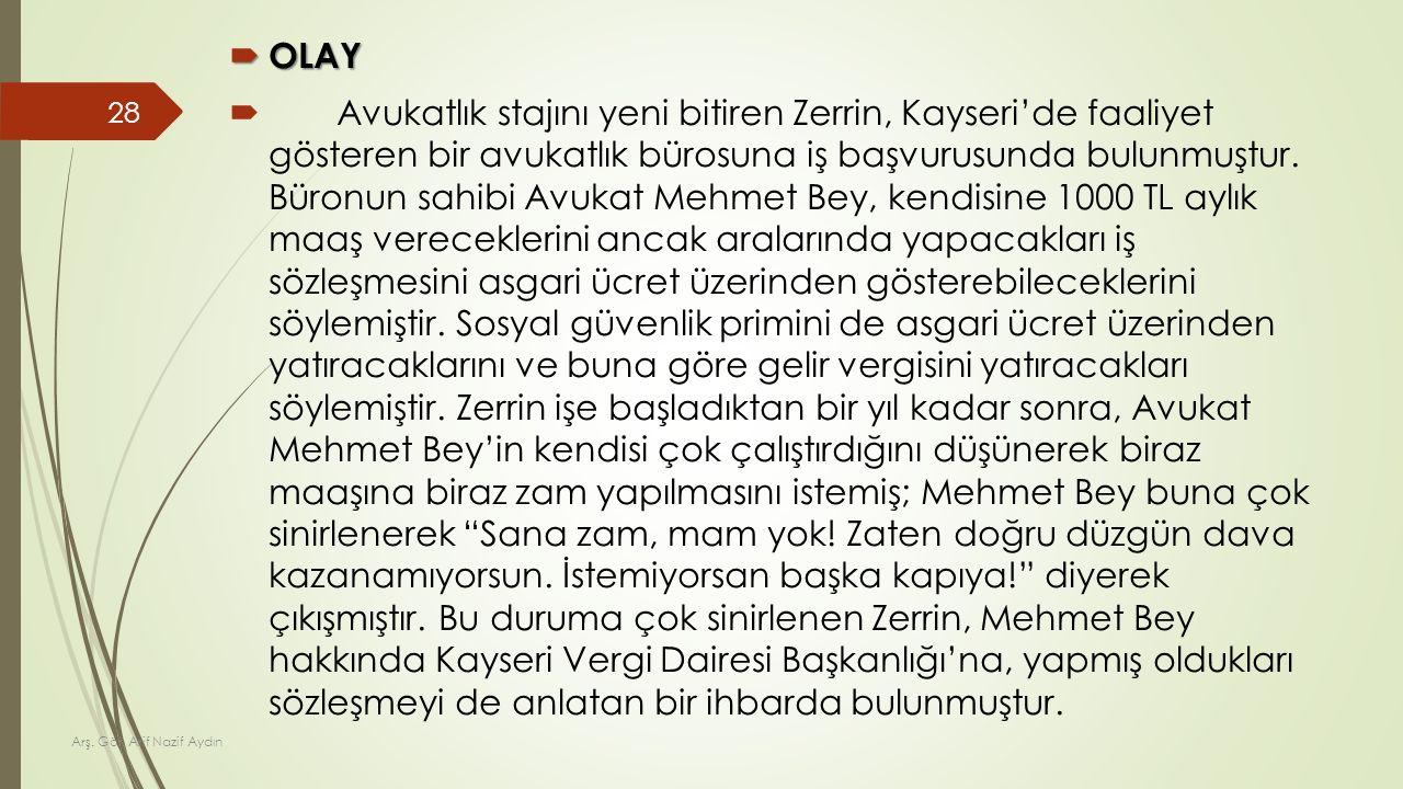  OLAY  Avukatlık stajını yeni bitiren Zerrin, Kayseri'de faaliyet gösteren bir avukatlık bürosuna iş başvurusunda bulunmuştur. Büronun sahibi Avukat