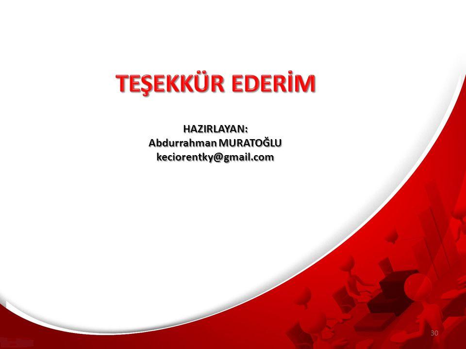 HAZIRLAYAN: Abdurrahman MURATOĞLU keciorentky@gmail.com 30