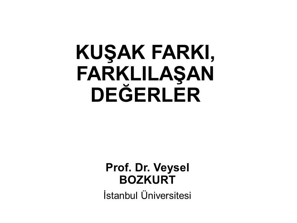 KUŞAK FARKI, FARKLILAŞAN DEĞERLER Prof. Dr. Veysel BOZKURT İstanbul Üniversitesi
